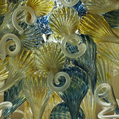 Aqua Iris-Gold Hand Blown Glass Chandelier - Detail
