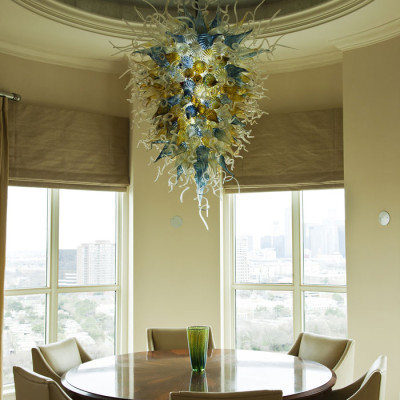 Aqua Iris-Gold Hand Blown Glass Chandelier