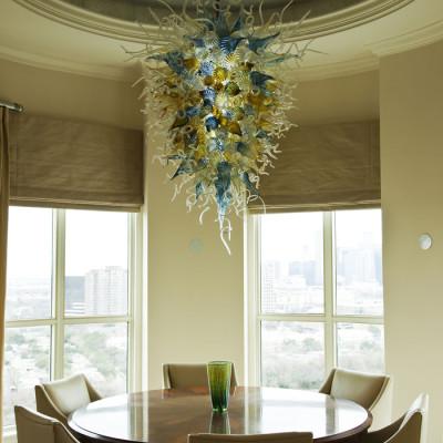 Aqua Iris-Gold Hand Blown Glass Chandelier