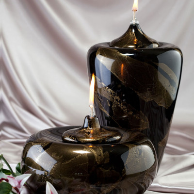 Black and Gold Hand Blown Glass Memorial Vessel