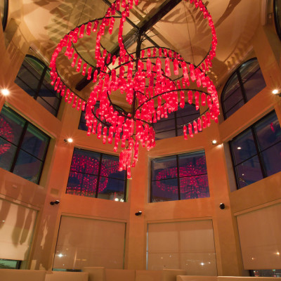 Crimson Cascade Hand Blown Glass Chandelier Lighting Installation