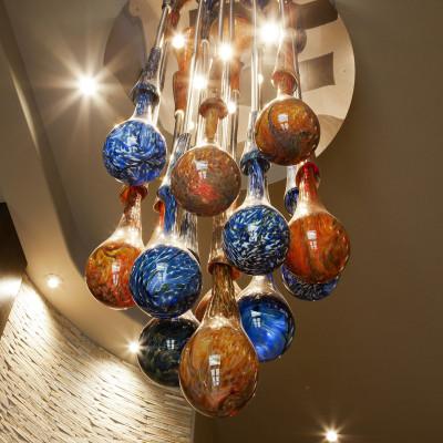 """Tropic Rain"" Hand Blown Glass Chandelier Lighting Installation1"