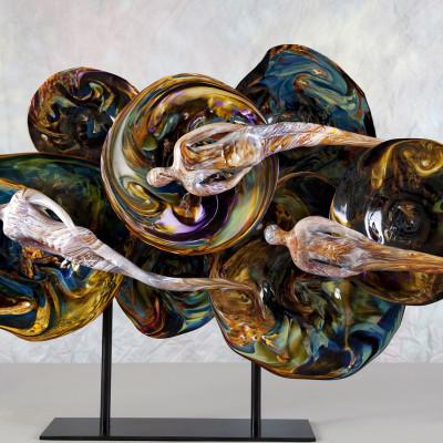 """""""Bestowment"""" Hand Blown Glass Faith Based Art Sculpture"""