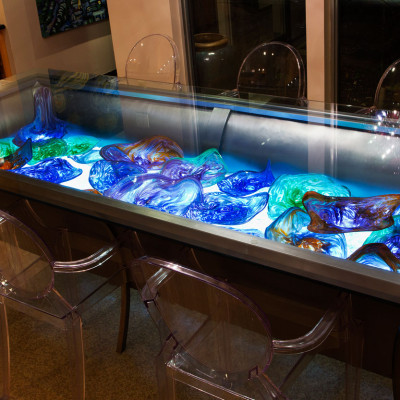 """""""Elysium"""" Inlay Hand Blown Glass Table"""
