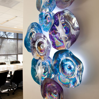 Hand Blown Glass Wall Installation - Center for BrainHealth in Dallas