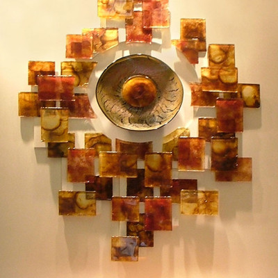 Hand Blown and Cast Glass Wall Installation - Fort Worth