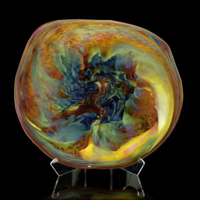 Nebula Series: Iris Gold and Blue Hand Blown Glass Rondel