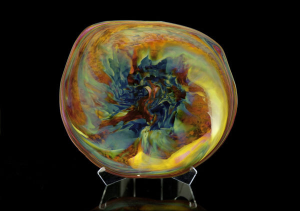Nebula Series: Iris Gold and Blue Hand Blown Glass Rondel