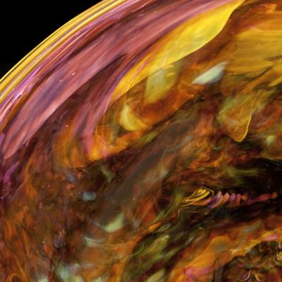 Nebula Series: Iris Gold and Purple Hand Blown Glass Rondel - Detail
