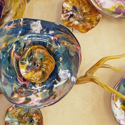 """""""Fiori"""" Purple Aqua IrisGold Hand Blown Glass Wall Installation - Detail"""