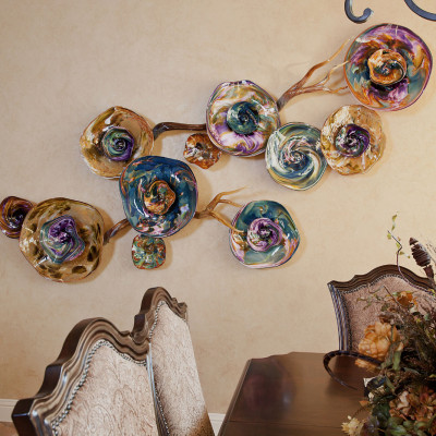 """Fiori"" Purple Aqua IrisGold Hand Blown Glass Wall Installation"