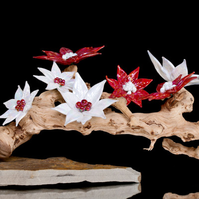 "Red White Flowers - Hand blown glass sculpted art ""Desert Blossom"""