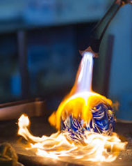 Glassblowing Demo Flaming Ornament at Vetro