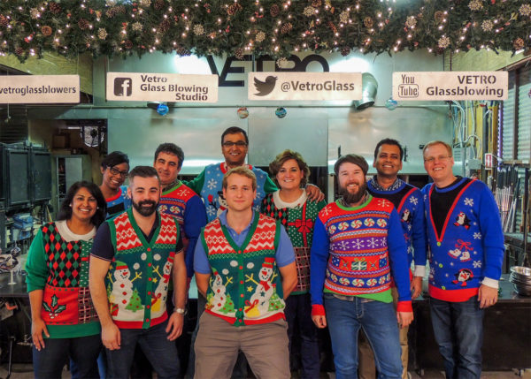 This image has an empty alt attribute; its file name is Crazy-Sweater-Party-Ideas-Vetro-Glassblwoing-600x429.jpg